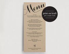 Wedding Menu Printable Template - Dinner Menu Printable - DIY PDF Instant Download - Kraft #BPB109