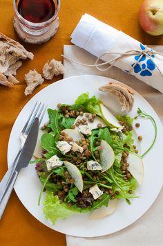 lentil pear blue cheese salad