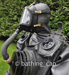 """"""" Picture from bathing_cap on Fetlife of his great British vintage divegear """" Scuba Wetsuit, Scuba Gear, Latex, Heavy Rubber, Great British, Underwater, Diving, Bathing, Helmet"""