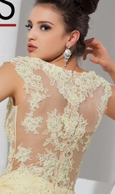 We love the lace back of this full skirted gown by Tony Bowls Le Gala. Best Prom Dresses, Wedding Dresses, Tony Bowls, Lace Back, One Shoulder Wedding Dress, Ball Gowns, Evening Dresses, Jewellery, Yellow