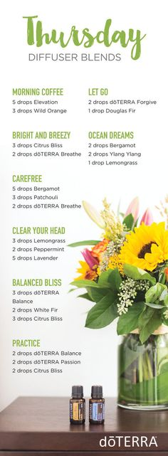 Thursday. You're almost there, but not there yet. You're tired and sometimes Friday night just seems like such a long way away. That's where there doTERRA Thursday diffuser blends come in to play. Diffuser these and get back on track right away. Morning Coffee 5 drops Elevation Joyful Blend 3 drops Wild Orange Essential Oil ... Read More about doTERRA Thursday Diffuser Blends