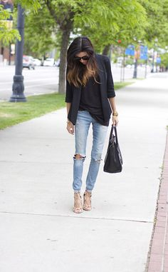 Black Basics and Distressed Denim and ombre hair