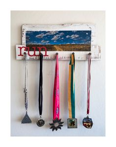 RUN : Pallet Art Race Medal Display OOAK Original Photography / Painting / Railroad date nails