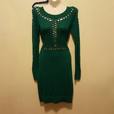 "Arden b. Gorgeous dress NWOT Never worn, beautiful green color , long sleeves and lots of spandex (10%) this little number will make you look sensational day or night measures bust 32"" waist 26. Hips 28"" Arden B Dresses Long Sleeve"