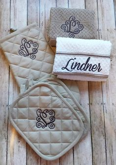 Monogrammed kitchen towel set, Personalized Kitchen towel set, Monogrammed Oven Mitt, Monogrammed hot pad, oven mitts by StitchnCafe on Etsy