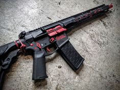 EDC Tactical Custom AR-15 Rifle, Shocker Fire Selector Engraving,<br />Cerakote Graphite Black and Red accents in the Diamond Fluted Stainless Steel Barrel Channels