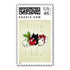 Decorations and Black Kitten (Happy Holidays) Stamps :) #Kitten #Cat #Postal #Stamps #Holiday #Christmas
