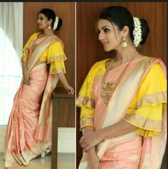 Modern blouses are experimental and also look chic. Discover These Latest Fashion Blouse Styles Which Are Worth Having In Your Wardrobe At Threads. Blouse Back Neck Designs, Silk Saree Blouse Designs, Saree Blouse Patterns, Fancy Blouse Designs, Designer Blouse Patterns, Latest Blouse Designs, Silk Sarees, Lehenga Blouse, Skirt Patterns