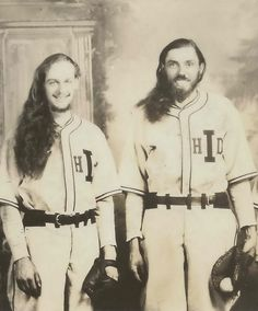 """Portrait of George """"Andy"""" Anderson alongside another baseball player (possibly Francis """"Louis"""" Buck) in uniform for the House of David baseball team, United States, photographer unknown. House Of David, Baseball Players, United States, Portrait, Sports, Vintage, Hs Sports, Headshot Photography, Portrait Paintings"""