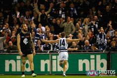 Joel Selwood celebrates kicking the winning goal in the final minutes of the Geelong vs Carlton Game at Etihad, June 6th, 2014.