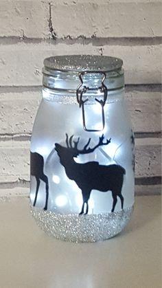 Stag, deer, Night light, mood lighting, Light jar, fairy lights, large jars perfect for kids night light, garden light, mood lighting, lamp