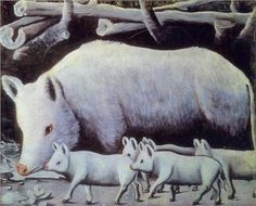 Sow with Piglets - Niko Pirosmani