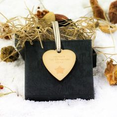 Engraved Maple Wood Heart Star 1st Christmas Decoration
