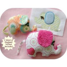 In The Hoop :: Softie Toys :: Elephant Softies - Embroidery Garden In the Hoop Machine Embroidery Designs