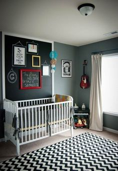 Nursery inspired by Pinterest ideas. I like the headboard made with chalk paint!