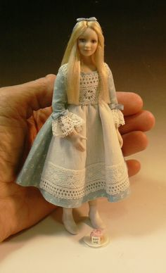 Strawberry Blond Hair Dressed Ooak Bjd Lady For 1:12 Doll House