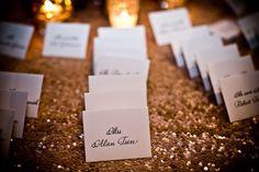 Amazing Linen for the Escort Card Table {Design: TableArt | Linen: La Tavola | Photo: Shea Roggio Photography}