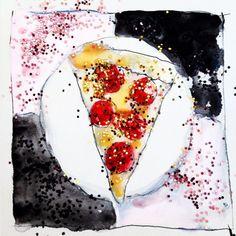 Glitter Pizza Illustration Donna Jean Baxter #donnajeanbaxter #fashion #illustration #fashionillustration #art #glitter #pizza #nylon #nylonmag