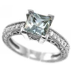 Jewelry Point - Princess-Cut Aquamarine & Diamond Vintage Style Engagement Ring