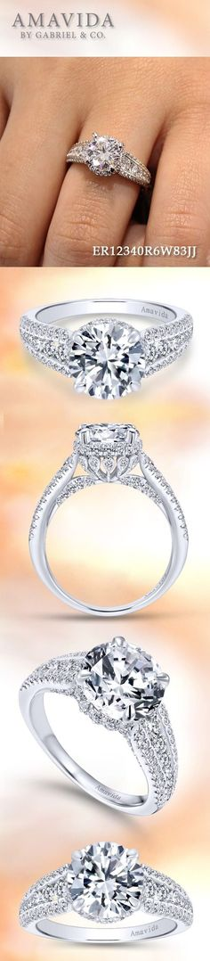 Amavida by Gabriel - Voted #1 Most Preferred Fashion Jewelry and Bridal Brand. - 18k White Gold Round Halo Engagement Ring