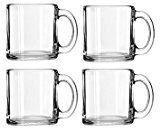 13 oz Libbey Crystal Coffee Mug Warm Beverage Mugs Set of 4