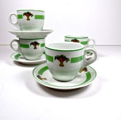 Shenango China Demitasse Set, Shenango Espresso Set, VTG Restaurant Espresso Cup Set, Green & White Espresso Cups