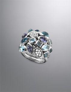 Large Blue Confetti Ring