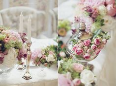 Candles & cloches Centerpieces, Table Decorations, Something Old, Accent Decor, Special Occasion, Dream Wedding, Candles, Bouquets, Pretty