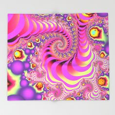 Colourful spiral motion, fractal abstract art Throw Blanket