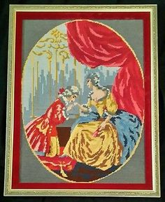 Victorian Lady Man Needlepoint Finished Fragonard ? Courting Southern Woman Love…