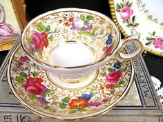 HAMMERSLEY TEA CUP AND SAUCER PAINTED BEADED DAVIS COLLAMORE TEACUP GOLD BR