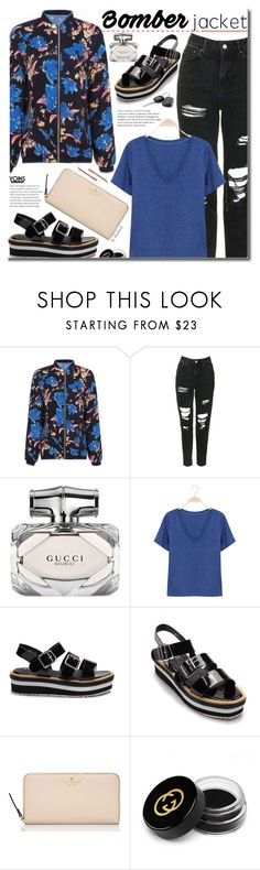 """""""Yoins Street Style -  Bomber Jacket"""" by beebeely-look ❤ liked on Polyvore featuring Topshop, Gucci, Kate Spade, Madewell, StreetStyle, rippedjeans, bomberjackets, yoins and yoinscollection"""