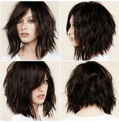 This is certainly the year of the shag haircut, which fits in perfectly with the contemporary-casual undone look that?s currently dominating hair fashion trends. The shag has always been considered a bit daring and rather unconventional. At the time, it Short Shag Hairstyles, Pretty Hairstyles, Hairstyle Ideas, Bob Haircuts, Edgy Medium Haircuts, Razor Cut Hairstyles, Scene Haircuts, Modern Bob Hairstyles, Haircut Medium