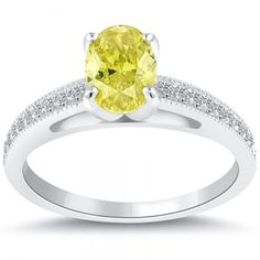yellow-oval-cut-diamond-ring 60 Magnificent & Breathtaking Colored Stone Engagement Rings