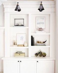 gorgeous white built-in shelves