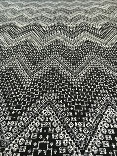 Image of Double Brushed Poly Spandex Print - Undefined Chevron Black White