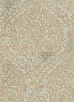 Khitan Eucalyptus and Gilver (NCW4186-07) - Nina Campbell Wallpapers - Named after the ancient nomadic tribe from the North of China, this opulent wallpaper features a large scale paisley damask in matt and metallic colourings. Shown here in metallic eucalyptus/duckegg and gilver. Other colourways are available. Please request a sample for a true colour match. Large scale pattern repeat.