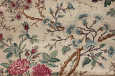 Antique French printed chintz fabric Indienne 19th material Arborescent old