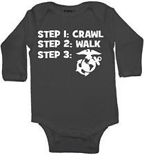 crawl walk marines marine military custom baby infant bodysuit color and size choice black white pink blue great shower gift new