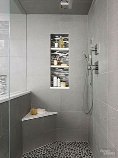 Stand Up Shower Remodel Diy and Small Shower Remodel Corner. Built In Shower Seat, Corner Shower Bench, Corner Bench, Corner Shelves, Shower Benches, Corner Seating, Room Shelves, Recessed Shelves, Small Shower Remodel