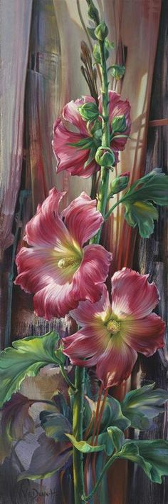 Final Curtain - Vie Dunn-Harr oil on canvas - Art Floral, Watercolor Flowers, Watercolor Paintings, Flower Painting Canvas, Flower Paintings, China Painting, Botanical Art, Beautiful Paintings, Painting Inspiration
