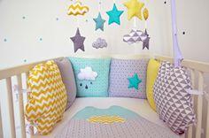 Tour de lit nuages étoile 'MenTalO citronnée'- menthe, gris, jaune, blanc