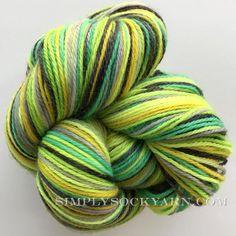 Poste Stripe Waitomo Cave fingering in Corriedale wool and nylon.  #sockyarn #greensockyarn #selfstriping #posteyarn