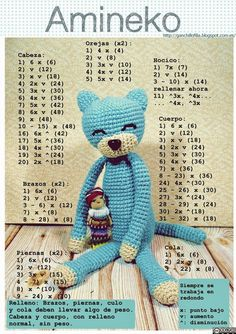 Crochet Cat Pattern, Crochet Amigurumi Free Patterns, Crochet Bunny, Cute Crochet, Crochet Yarn, Crochet Diagram, Knitted Animals, Knitted Dolls, Crochet Projects