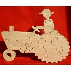 Farm Tractor  Childrens Wood Puzzle Game  New by GrampsWoodShop, $19.95