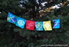 HandPainted Peace Flags Bunting Large 6 by Behennaed on Etsy, $50.00