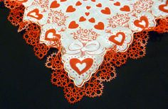 Tatted edging on vintage Valentine handkerchief: closeup view