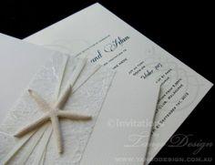Starfish pocket invitations for beach weddings #beachthemedinvitations #starfishweddinginvitations #beachweddinginvitations