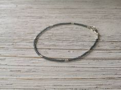 Grey Miyuki bead anklet, neural colour, tiny anklet by EssennzDesigns on Etsy Beaded Anklets, How To Make Beads, Bracelet Making, The Help, Seed Beads, Colour, Grey, Gifts, Accessories