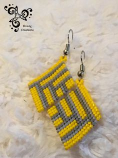 Yellow and Grey earring with Miyuki beads